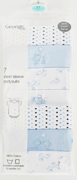 GEORGE 7pack Body, blue mouse, 0-3 m.
